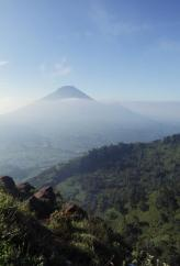 Mt. Sindoro (3.136m) view from top Mt. Sikunir (2.263m)